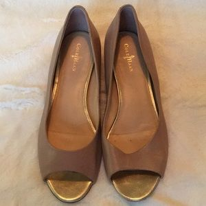 Cole Haan peep toe nude wedges
